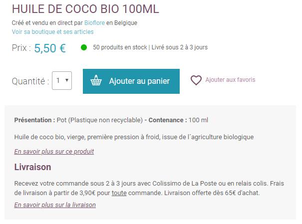 huile de coco cheveux prix